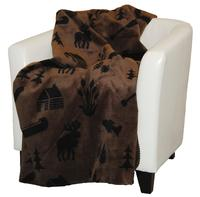 Denali® Rustic Collection: Moose Camp Taupe Reverse to Black Throw Blanket
