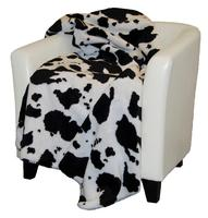 A Denali® Western Collection: Black & White Cow Reverse Black Throw Blanket