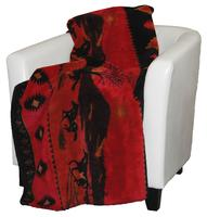 Denali® Western Collection: Red Running Horses Reverses Black Throw Blanket
