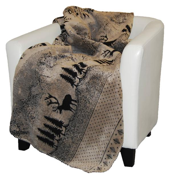 Denali® Rustic Collection: Black Forest Friends Reverse Black Throw Blanket