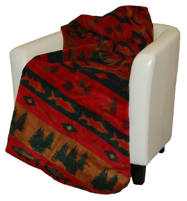 Denali® Rustic Collection: Fish Lodge Reverse Spruce Throw Blanket