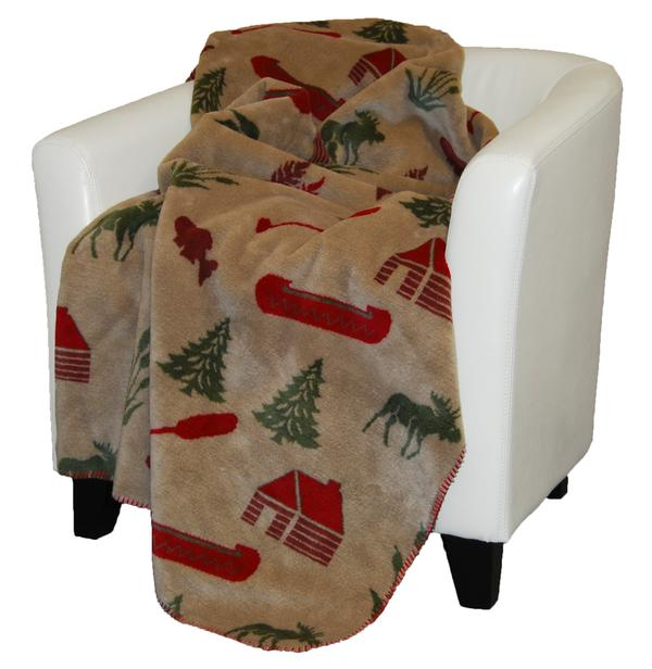 Denali Rustic Collection Moose Camp Reverse Sage Throw