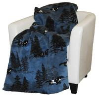 Denali® Western Collection: Horse Flight Reverse Black Throw Blanket
