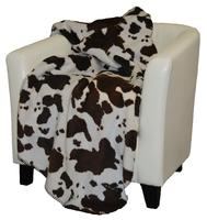 Denali® Western Collection: Brown & White Cow Reverse Taupe Throw Blanket