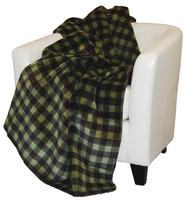Denali® Rustic Collection: Plaid Buffalo Check Thyme Chocolate Reverse Chocolate Throw Blanket