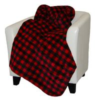 Denali® Rustic Collection: Plaid Buffalo Check Red Black Reverse Black Throw Blanket
