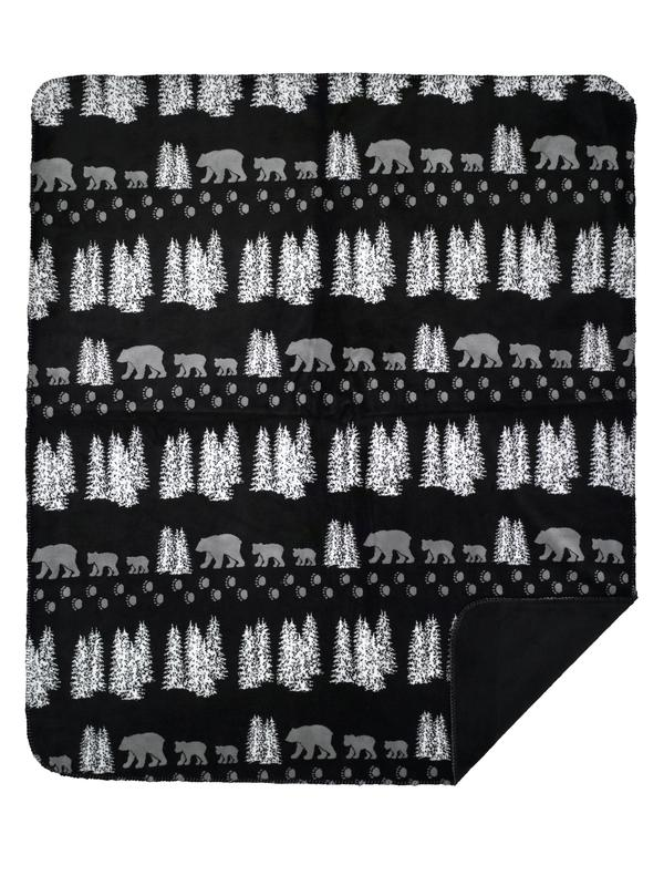 Denali Rustic Collection Denali Bear Black Reverse Black Throw Blanket