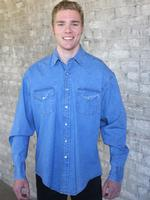 B Rockmount Ranch Wear Men's Western Shirt: Denim Stonewashed Cotton Talls, 2X-3X Backordered