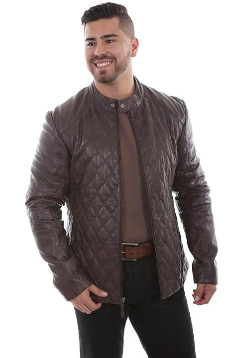 Scully Men's Leather Jacket: Casual Lamb Quilted Design Chocolate