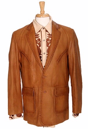 The Patriot Radio >> Scully Men's Leather Blazer: Whip Stitch Ranch Tan Big and ...