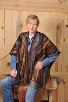Rhonda Stark Designs Italian Acrylic Collection: Shawl Wave Cappuccino, Fringe