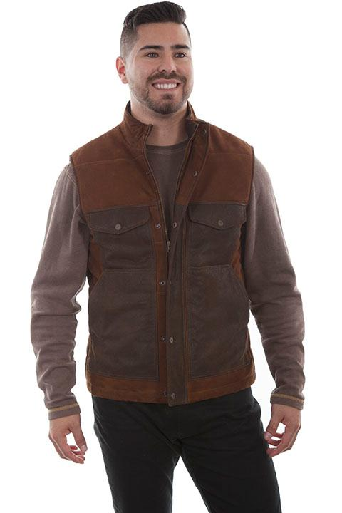 Scully Men's Leather Vest: Casual  Lamb Suede Outdoor