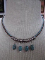 ZSold Laura Ingalls Designs: Necklace Braided LeatherTurquoise Robin's Eggs SOLD