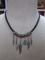 ZSold Laura Ingalls Designs: Necklace Braided Leather Turquoise Nugget with Feathers SOLD