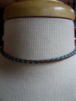 ZSold Laura Ingalls Designs: Necklace Braided Turquoise and Saddle Leather SOLD