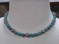ZSold Laura Ingalls Designs: Necklace Turquoise w Aztec Silver Beads SOLD