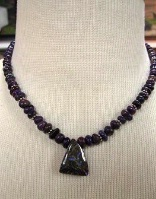 A Laura Ingalls Designs: Necklace Boulder Opal, Purple Turquoise, Sterling Silver Special Order