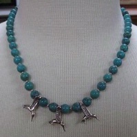 ZSold Laura Ingalls Designs: Necklace Turquoise w Hummingbirds SOLD