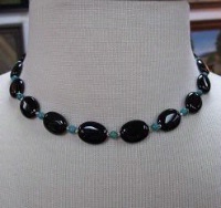 ZSold Laura Ingalls Designs: Necklace Black Onyx and Turquoise SOLD