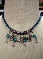 ZSold Laura Ingalls Designs: Necklace Braided Leather Turquoise Nuggets and Horses SOLD