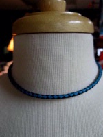 A Laura Ingalls Designs: Necklace Braided Turquoise and Black Leather