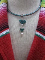 ZSold Laura Ingalls Designs: Necklace Braided Leather Turquoise Butterflies SOLD