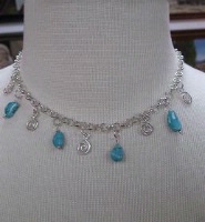 ZSold Laura Ingalls Designs: Necklace Silver Swirls w Turquoise Nuggets SOLD