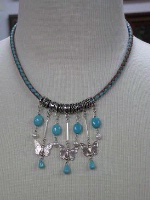 ZSold Laura Ingalls Designs: Necklace Braided Leather Turquoise Nuggets and Butterflies SOLD