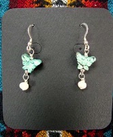 ZSold Laura Ingalls Designs: Earrings Wires Turquoise Butterfly w Pearl SOLD