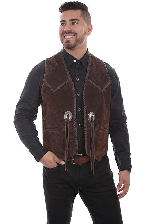 Scully Men's Leather Vest: Casual Suede Handlacing