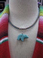 ZSold Laura Ingalls Designs: Necklace Braided Leather w Bear Turquoise SOLD