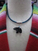 ZSold Laura Ingalls Designs: Necklace Braided Leather w Bear Black Onyx SOLD