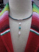 ZSold Laura Ingalls Designs: Necklace Braided Leather w Pearls and Turquoise SOLD