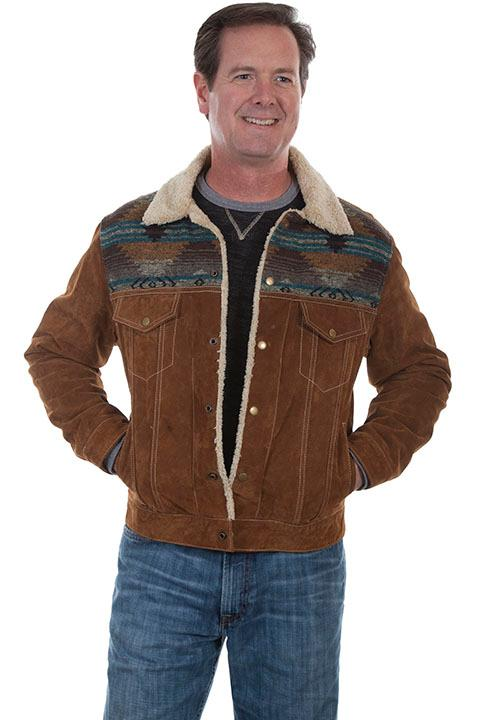 Scully Men's Leather Jacket: Casual Suede Western Style Cafe Brown Big