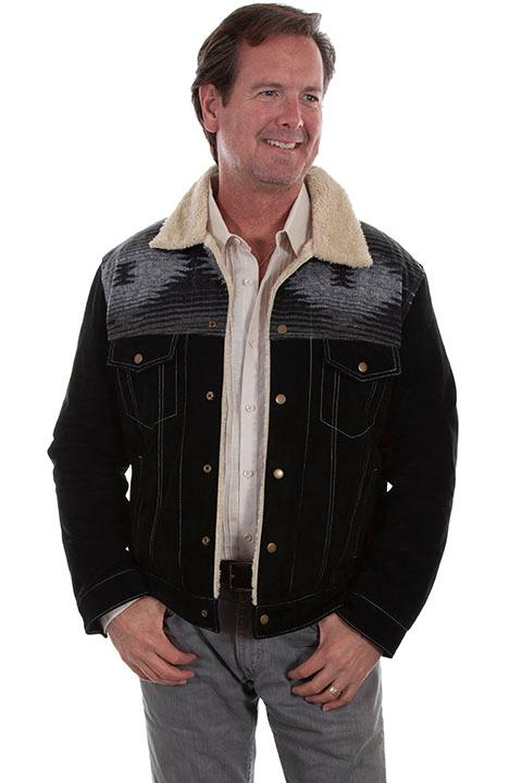 Scully Men's Leather Jacket: Casual Suede Western Style Black