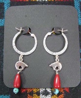 ZSold Laura Ingalls Designs: Earrings Hoops w Bears and Coral SOLD