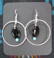 ZSold Laura Ingalls Designs: Earrings Hoops Black Onyx and Turquoise SOLD