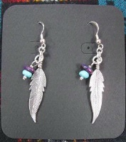 ZSold Laura Ingalls Designs: Earrings Wires Feathers w Blue and Purple Turquoise Nuggets SOLD