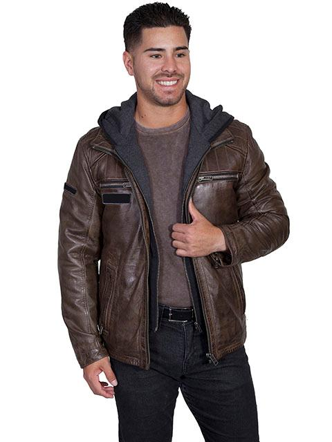 Scully Men's Leather Jacket: Casual Lamb Zip Hood Insert Brown