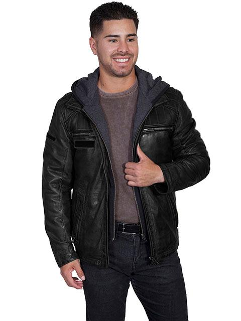 Scully Men's Leather Jacket: Casual Lamb Zip Hood Insert Black