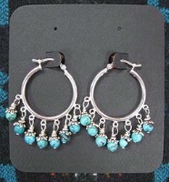 ZSold Laura Ingalls Designs: Earrings Hoops Turquoise Delight SOLD