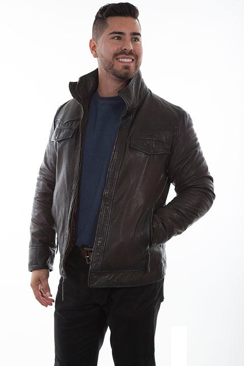 Scully Men's Leather Jacket: Casual Leather Double Collar