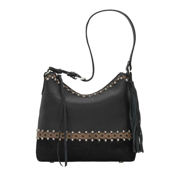 A American West Handbag Wild Horses Collection: Leather Zip Top Shoulder Black