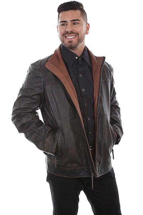 Scully Men's Leather Jacket: Casual Leather with Two Tone Collar