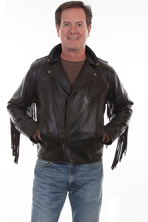 Scully Men's Leather Jacket: Casual Lamb Motorcycle Fringe SALE