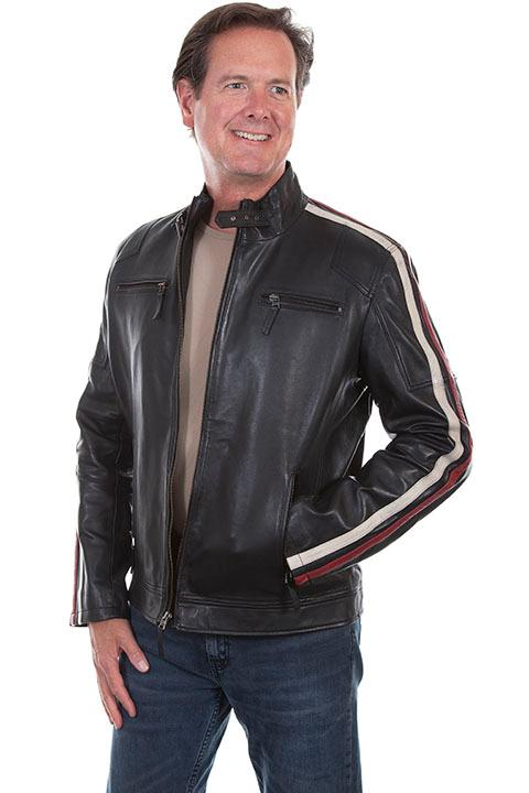 Scully Men's Leather Jacket: Casual Lamb Motorcycle Racer Black