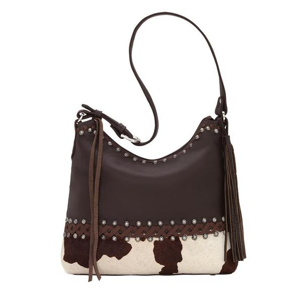 A American West Handbag Wild Horses Collection: Leather Zip Top Shoulder Chocolate Pony