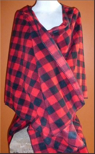 Rockmount Ranch Wear Accessory: Poly Fleece Poncho Red Check