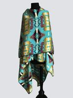 Rockmount Ranch Wear Accessory: Poly Fleece Poncho Yellow Turquoise