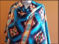 Rockmount Ranch Wear Accessory: Poly Fleece Poncho Turquoise